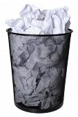 stock photo of recycled paper  - Trash can full of paper - JPG