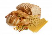 stock photo of food groups  - Bread and pasta food group isolated on white background - JPG