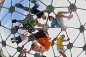 stock photo of playground school  - Elementary school students on play structure - JPG