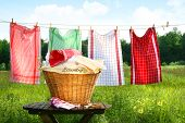 pic of clotheslines  - Towels drying on the clothesline - JPG