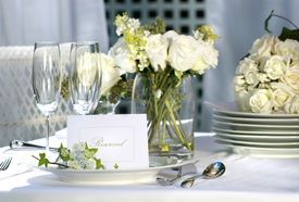 picture of wedding table decor  - White place card on outdoor wedding table - JPG