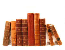 stock photo of vintage antique book  - Old antique books against a white background - JPG