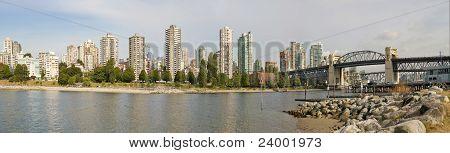 Vancouver Bc Skyline And Burrard Bridge Panorama