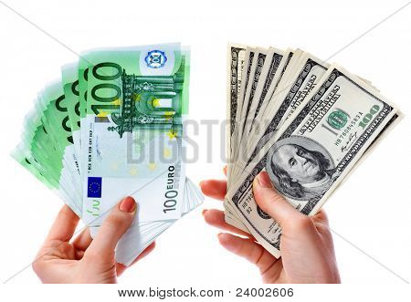 Exchange dollars to euro money in female hand. Concept.