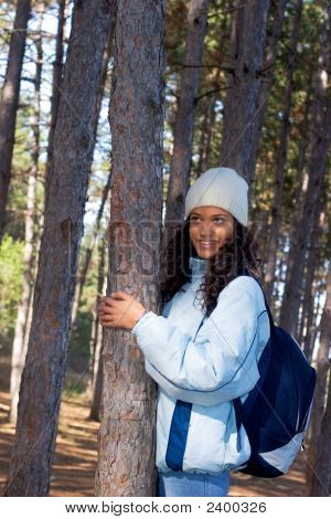 Beautiful Happy Winter Girl In Blue Jacket