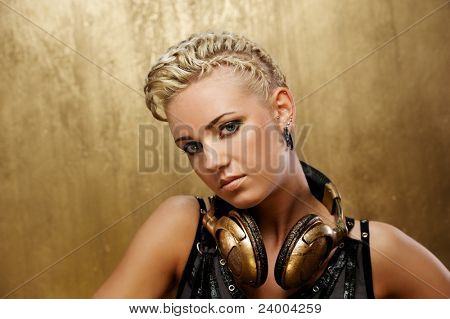 Portrait of a beautiful steam punk girl