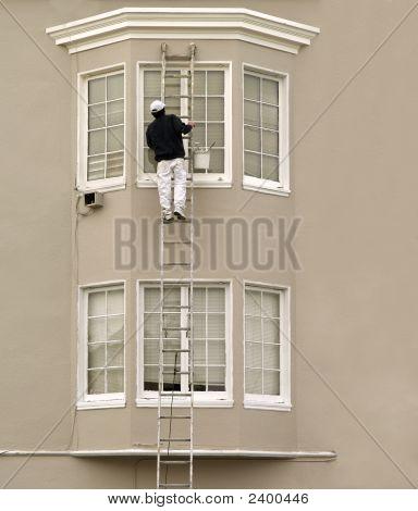Housepainter On Ladder