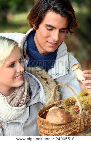 couple after mushroom picking