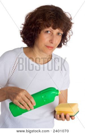 Woman Holding Sponge To Clean