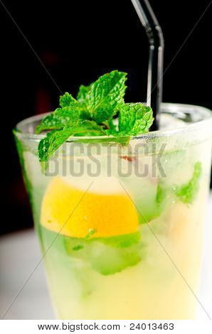 Mojito Caipirina Cocktail With Fresh Mint Leaves