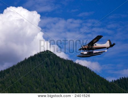 Floatplane Near Mountain