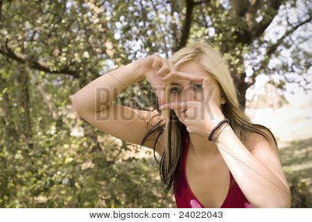 Creative Photographer Woman Frame With Fingers