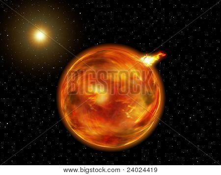 Fantasy Galaxy Planet Of Fire