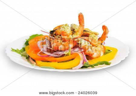 Salad with shrimp and mussels