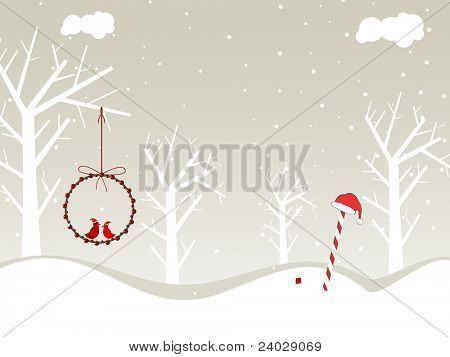nature concept background with dry tree, birds sitting in balls & candy for merry christmas