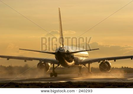 Airliner At Dawn