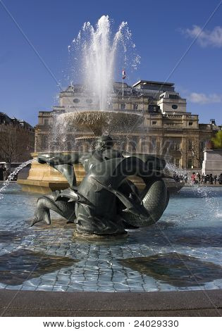 Fountains in Trafalgar Square in London.