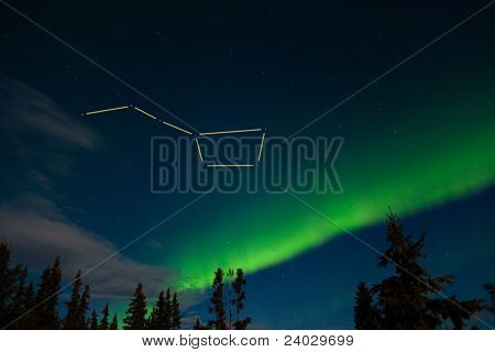 Big Dipper and northern lights display