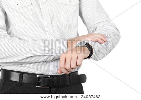 Closeup Of Businessman Hand With Watch Isolated