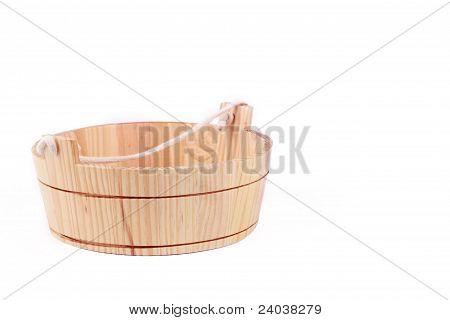 small wooden washtube