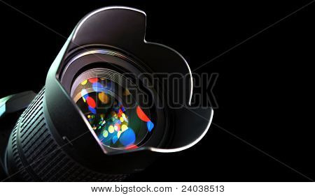 lens of the digital camera in light
