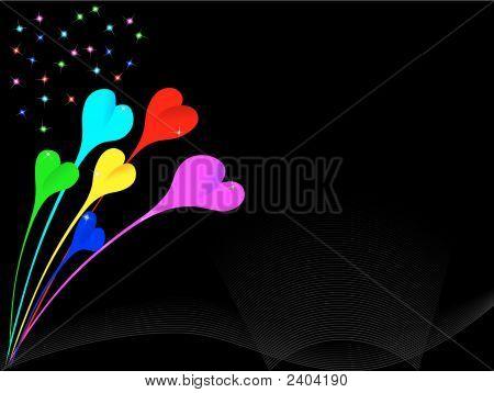 Vector Hearts Firework