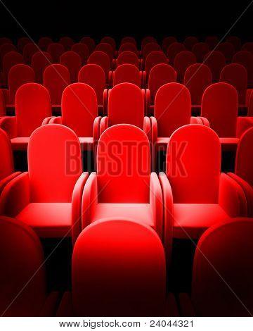 Постер, плакат: Пустой театр auditorium кино или конференции зал, холст на подрамнике