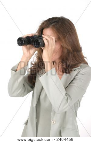 Beautiful Woman Looking Through Binoculars 1