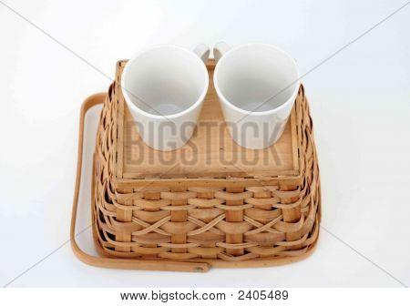 Teacups On Basket