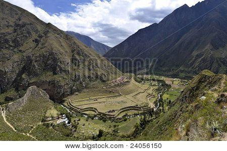Ruinas de Llactapata en el camino del Inca