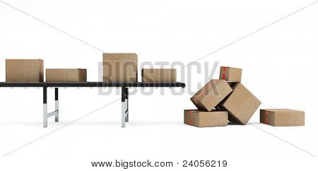 Cardboard boxes on conveyor belt