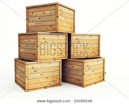 several wooden crates