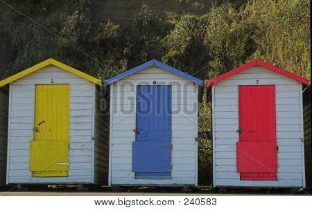 Three Old Beach Huts