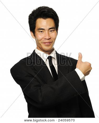 Asian business man giving thumbs up