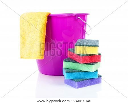 Cleaning Utensils Colorful Sponge Scourer And Bucket