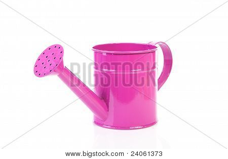 Pink Watering Can Over White Background