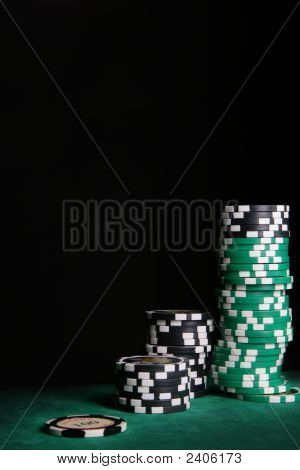 Casino Chips Over Black