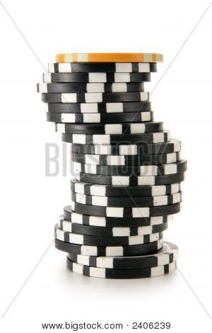 Stack Of Casino Chips Isolated