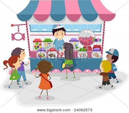 Illustration of Kids Heading to a Candy Store
