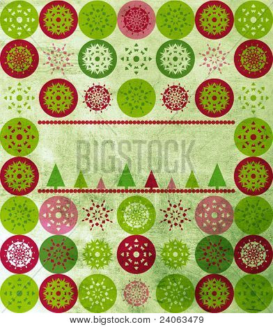 Christmas greeting card cover with green, red, pink snowflakes, Christmas trees and copy space over grunge texture