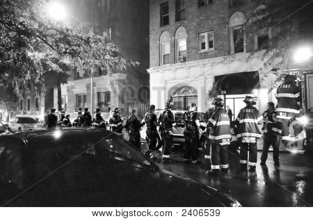 New York Firemen At Scene Of Fire