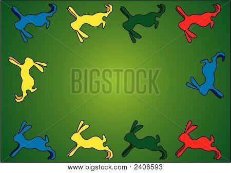 Easter Bunnies Eps Vector Design / Background