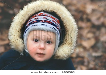 Retrato de um menino no Parque Outono