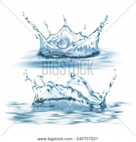 poster of Vector 3d Realistic Set With Water Splashes, Abstract Shapes With Droplets, Liquid Crown, Clean And