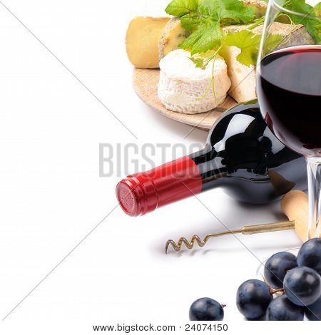 Red Wine With French Cheese Selection