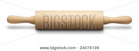 baking rolling pin and on white background