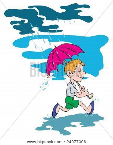 The Boy Under An Umbrella