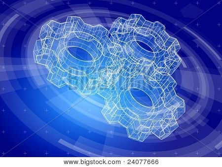 Gears on a blue radial technology background. Bitmap copy my vector ID 81398791