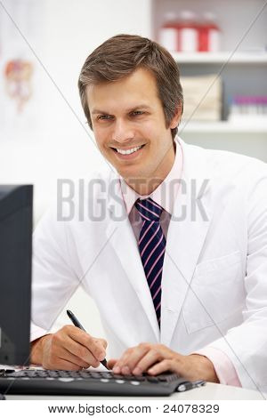 Hospital doctor at desk