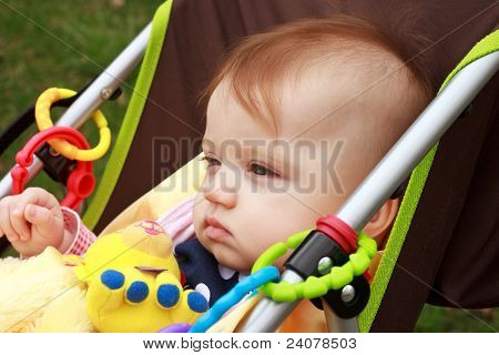 Baby In Stroller Stair